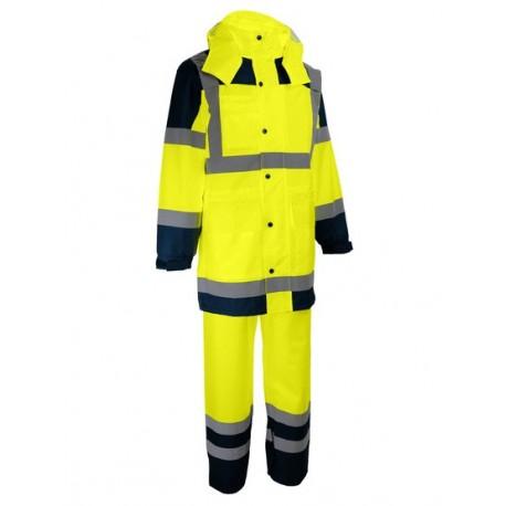 Ensemble Manteau veste et pantalon EPI haute visibilité protection pluie orange fluo