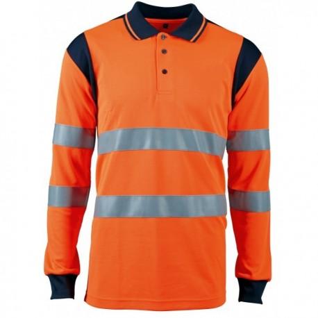 Polo de signalisation manches longues haute visibilité orange